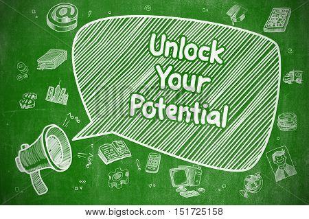 Shouting Megaphone with Wording Unlock Your Potential on Speech Bubble. Doodle Illustration. Business Concept.