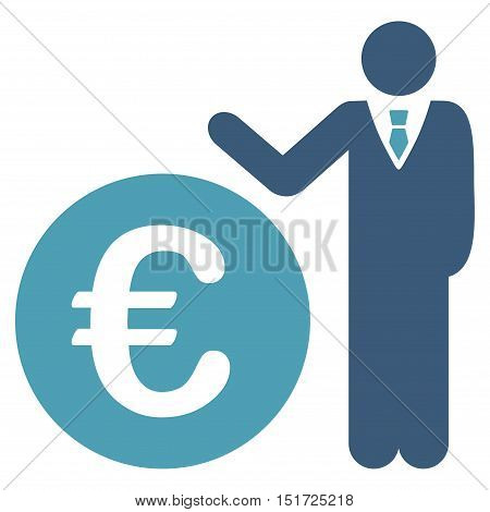 Euro Economist icon. Vector style is bicolor flat iconic symbol, cyan and blue colors, white background.