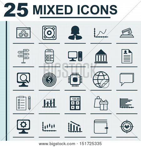 Set Of 25 Universal Icons On Website Performance, Keyword Optimisation, Education Center And More To
