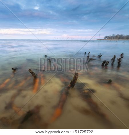 bulrush dawn / Photo dark dawn Ukraine prolonged exposure