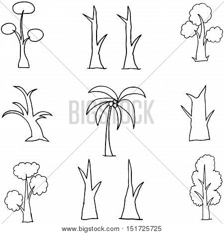 Collection of tree set hand draw vector art