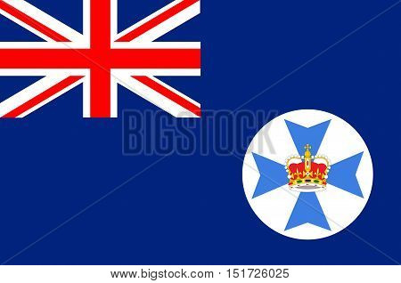 Flag of Queensland (Qld) is the second-largest and third-most-populous state in Australia. Vector