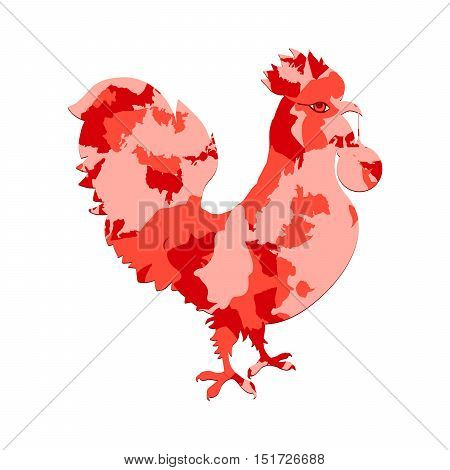 Rooster Silhouette With Red Camo Or Camouflage Fill. Cock, Decorated With Spot Pattern. Vector Color