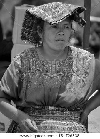 SANTIAGO DE ATITLAN GUATEMALA APRIL 29 2016: Portrait of a Mayan woman. The Mayan people still make up a majority of the population in Guatemala,