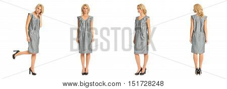 Beautiful Blonde Woman In  Gray Tunic Dress Isolated On White