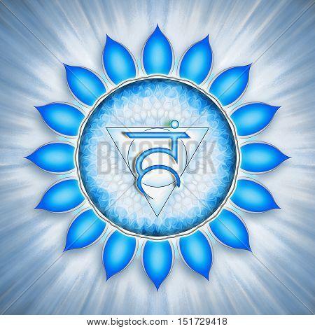 Illustration of a chakra symbol. Throat chakra vishuddha.
