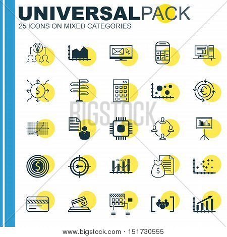 Set Of 25 Universal Icons On Collaborative Solution, Business Goal, Bank Card And More Topics. Vecto