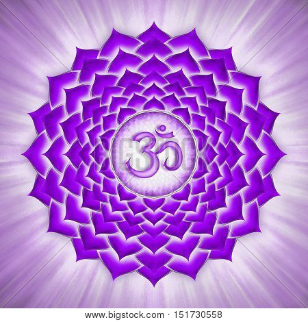 Illustration of a chakra symbol. Crown chakra sahasrara.