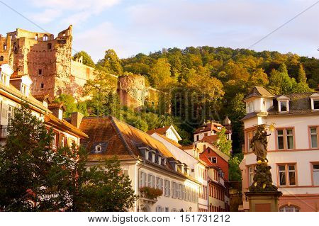 Heidelberg Castle in Germany in a Europe