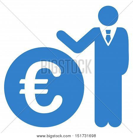 Euro Economist icon. Vector style is flat iconic symbol, cobalt color, white background.