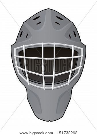 Vector illustration. Layout of hockey goalie helmet isolated on white background. Template for creating mockup. Layout for your stickers, card, emblems, web design