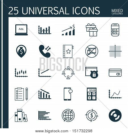 Set Of 25 Universal Icons On Fail Graph, Graphical Grid, Collaboration And More Topics. Vector Icon
