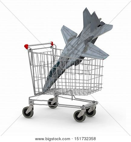 Shopping cart with a warplane inside 3d illustration