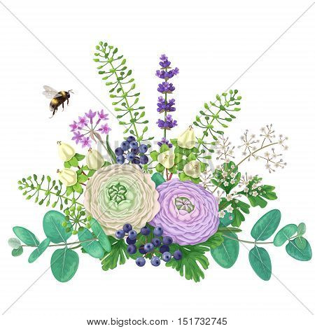 Bunch of colorful flowers and flying bumblebee isolated on white. Cream and lilac buttercup with floral elements and berries. Romantic bouquet.