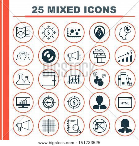 Set Of 25 Universal Icons On Money Recycle, Market Research, Announcement And More Topics. Vector Ic