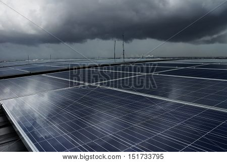 Solar PV Rooftop under Dark Storm Cloud