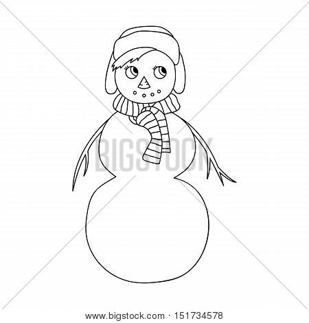 Vector sketch of a Christmas winter snowman on white background