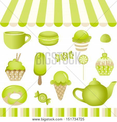 Scalable vectorial image representing a green candy shop, isolated on white.