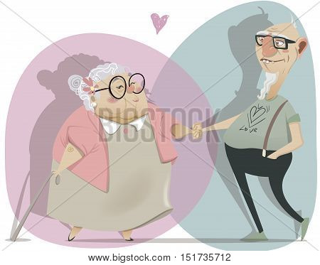 old cartoon couple in love. vector illustration