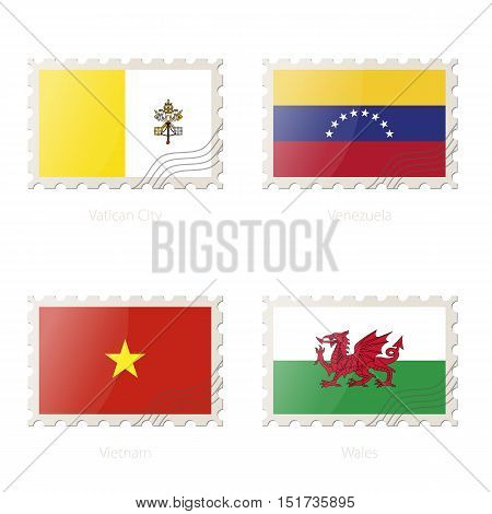 Postage Stamp With The Image Of Vatican City, Venezuela, Vietnam, Wales Flag.