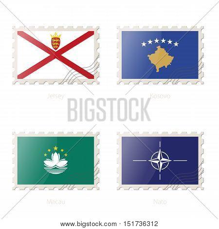Postage Stamp With The Image Of Jersey, Kosovo, Macau, Nato Flag.