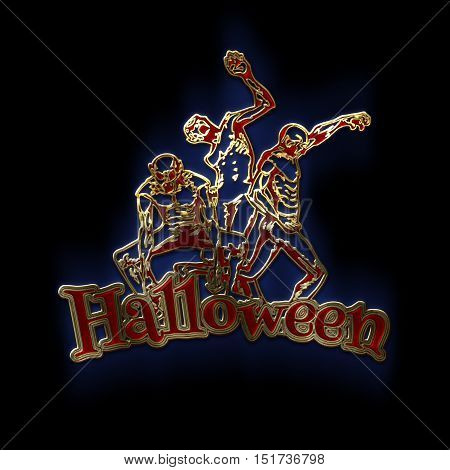 Zombie sticker. 3D illustration of zombies in different poses with Halloween text. Emblem isolated on black background. Zombie Party Poster. Gold red glass and enamel texture with a blue backlight.