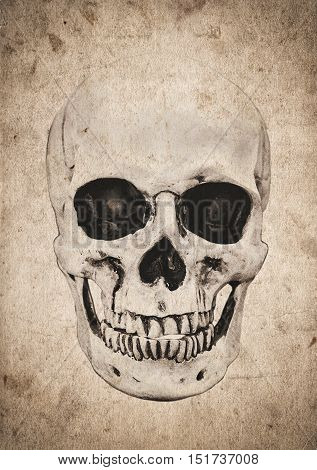 Halloween Background With Skull On Old Vintage Newspaper