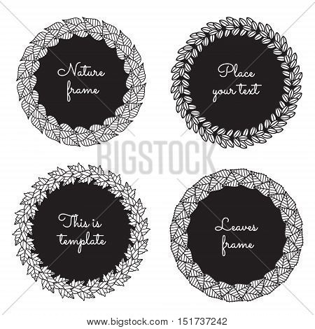 Circle nature frames (black) with leaves (lilac ash viburnum birch) vector set. Vintage style. Perfect for invitations and other design.