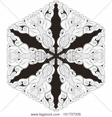 Elegant round lace pattern. Black white and gray. Easy to change colors. Six rays.