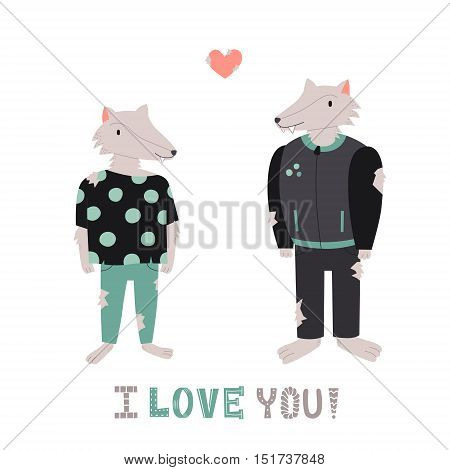 Werewolf cute couple with heart vector illustration. I love you! greeting card.