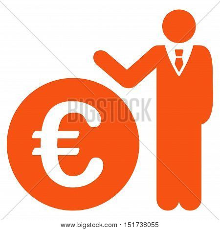 Euro Economist icon. Vector style is flat iconic symbol, orange color, white background.