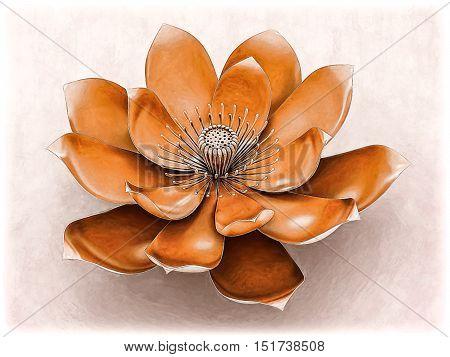 Illustration of a lotus flower  with sacral chakra color orange.