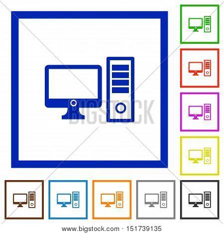 Set of color square framed desktop computer flat icons