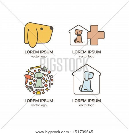 Vector logo design template for pet shops, and veterinary clinics, set, badge for websites and prints