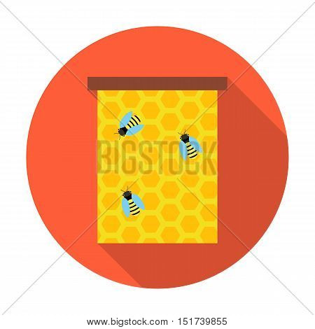 Honeycomb with bees circle icon. Vector illustration of honeycomb with bees on a red.