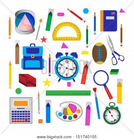 Set of school objects. Vector illustration of educationl and office tools over white.