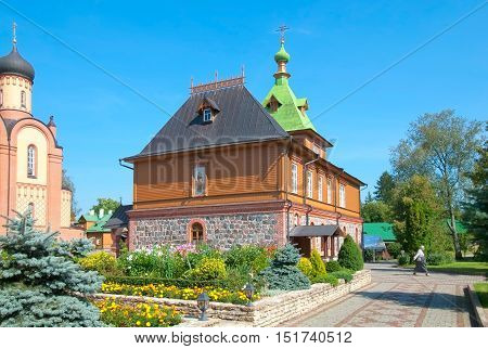 KUREMAE, IDA-VIRUMAA COUNTY, ESTONIA - AUGUST 21, 2016: St Simeon and St Anna Church (Refectory) on the territory of Puhtitsa Assumption Convent of Russian Orthodox Church