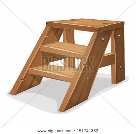 Illustration of a cartoon footboard with wooden stairs and shelves isolated on white background