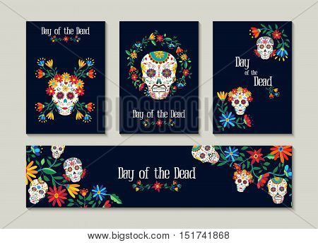 Day Of The Dead Template Set For Cards Or Label