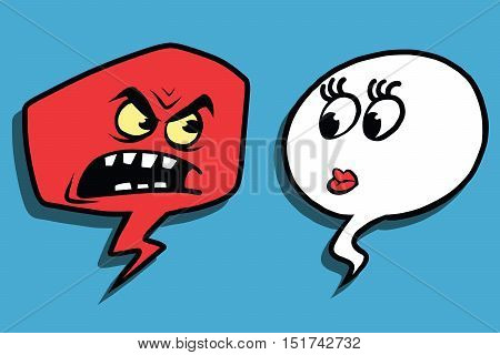 Anger comic bubble face man woman, pop art comic vector illustration. Rage, scandal, screaming
