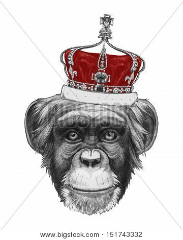 Hand drawn portrait of Monkey with crown.