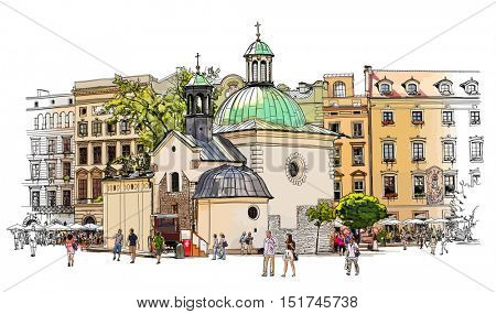 The town square in Krakow. Poland. Color vector illustration