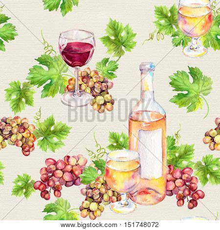 Red and white wine seamless pattern. Wine glass and bottle with vine leaves, grape berries. Vintage watercolor