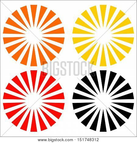Logo Shape, Element In 3 Colors With Radial, Concentric Lines. Burst Element