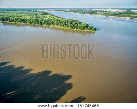 confluence of  Missouri and Mississippi Rivers -aerial view