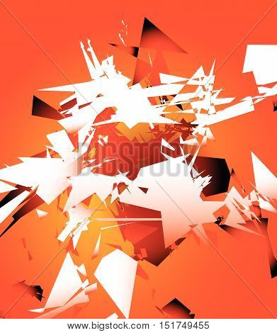 Abstract Shattered Digital Art With Random Edgy Shards. Digital Art Abstract Illustration