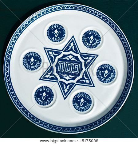 Vintage Passover Seder Plate On Dark Background.