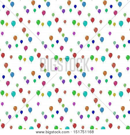 Vector illustration seamless pattern flying balloons of different colorson a white background and without background