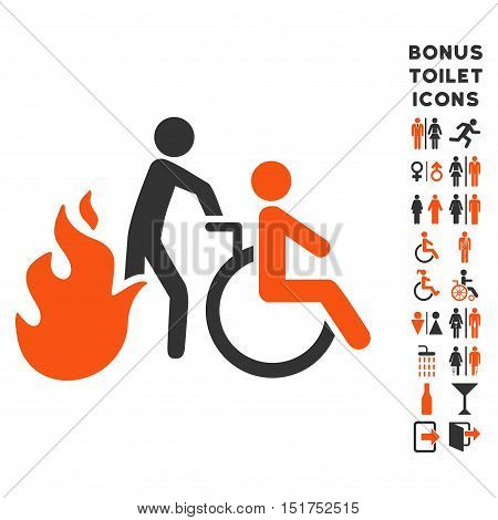 Fire Patient Evacuation icon and bonus gentleman and woman restroom symbols. Vector illustration style is flat iconic bicolor symbols, orange and gray colors, white background.