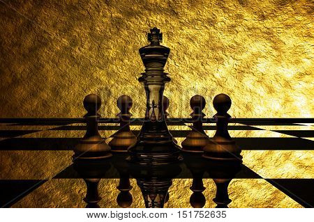 3D Rendering : illustration of chess pieces.the glass king chess at the center with wooden pawn chess in the back.put on chess board with gold background.leader concept.success concept business leader concept